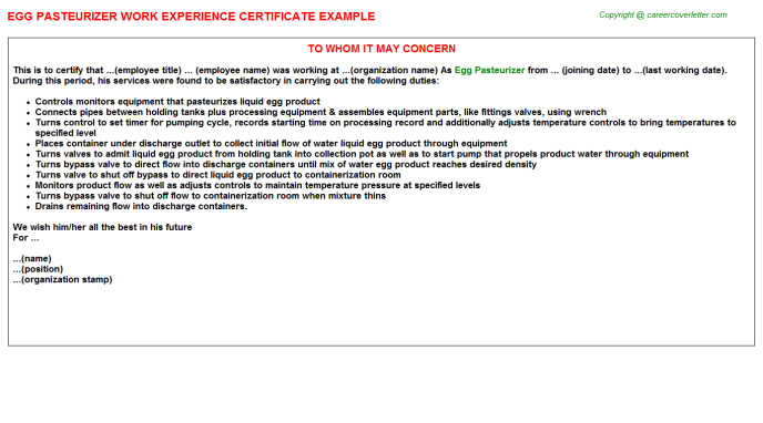 egg pasteurizer experience letter template