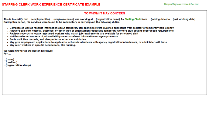 staffing clerk experience letter template
