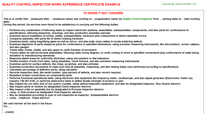 quality control inspector work experience letter