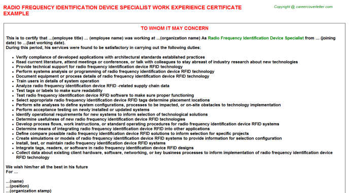 Radio Frequency Identification Device Specialist Experience Letter Template