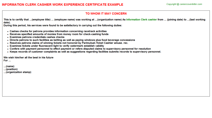 information clerk cashier experience letter template