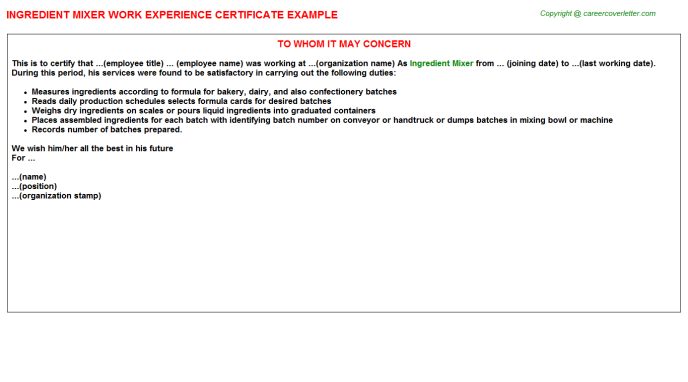 ingredient mixer experience letter template