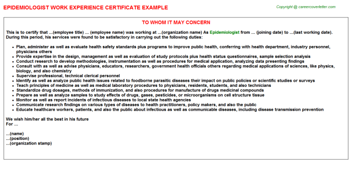 Epidemiologist Experience Letter Template
