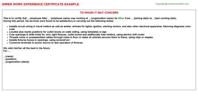 Wirer Work Experience Letter Template