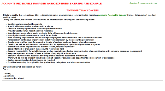 Accounts Receivable Manager Work Experience Certificate Template