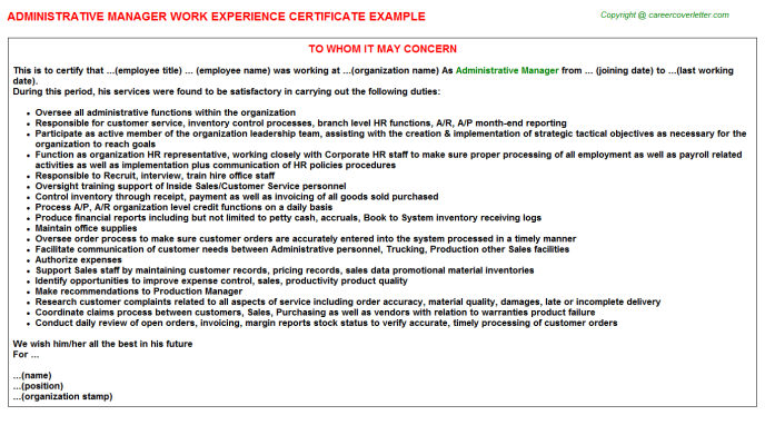 Administrative Manager Work Experience Letter Template