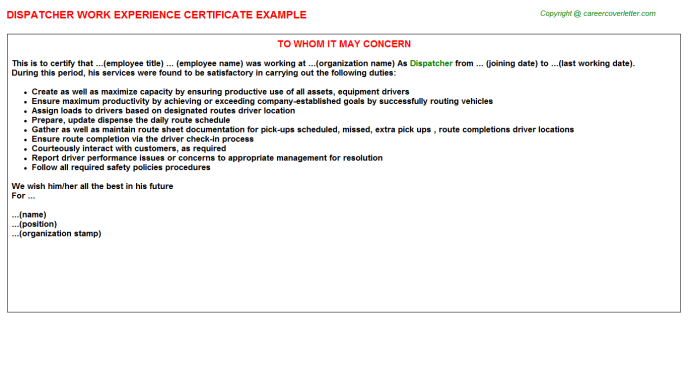 Dispatcher Experience Letter Template