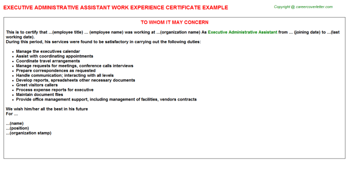 Executive Administrative Assistant Experience Letter Template