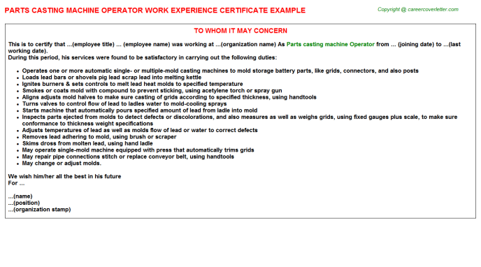 Parts casting machine Operator Experience Letter Template