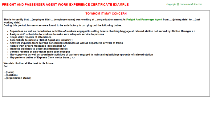 freight and passenger agent experience letter template