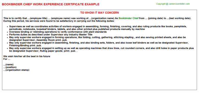 Bookbinder Chief Experience Certificate Template