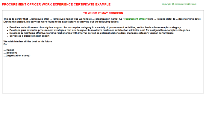 Procurement Officer Experience Letter Template