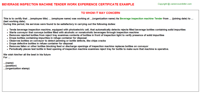 Beverage Inspection Machine Tender Job Experience Letter Template