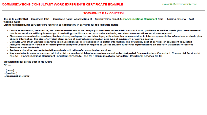 communications consultant experience letter template