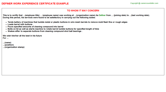Definer Experience Letter Template