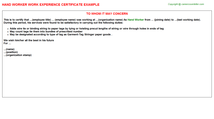 Hand Worker Experience Certificate Template