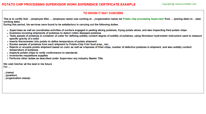 potato chip processing supervisor experience letter template