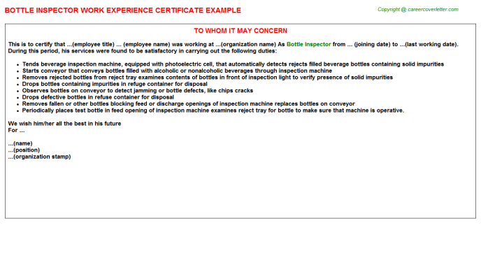 bottle inspector experience letter template