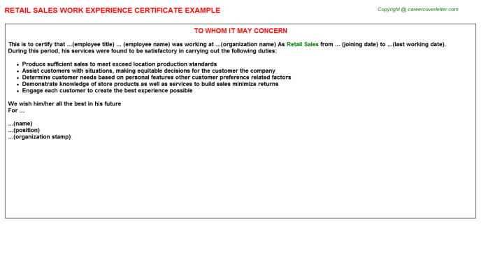 Retail Sales Experience Certificate Template