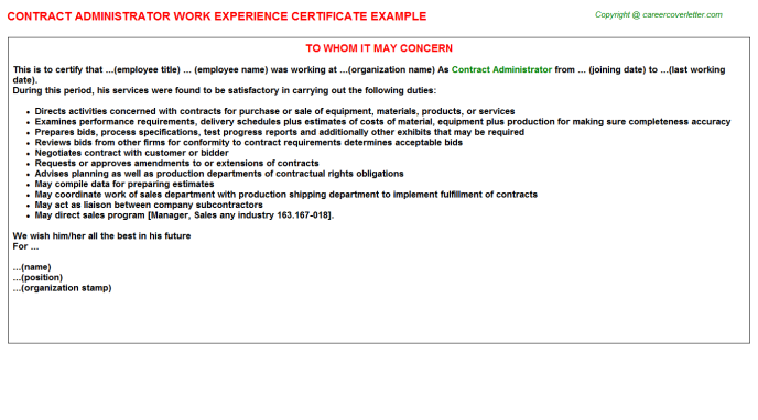 Contract Administrator Experience Letter Template