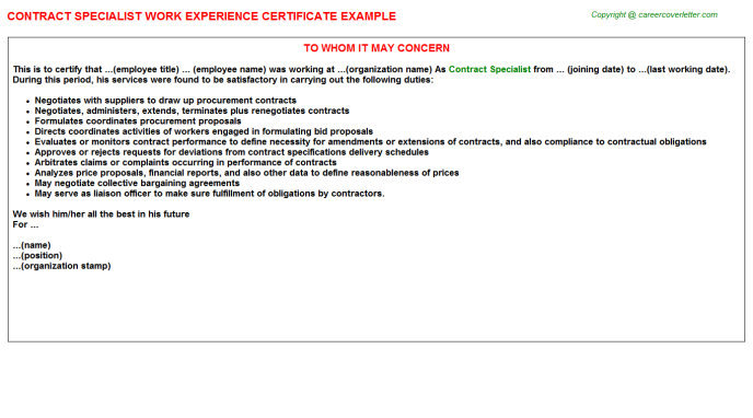 Contract Specialist Experience Letter Template