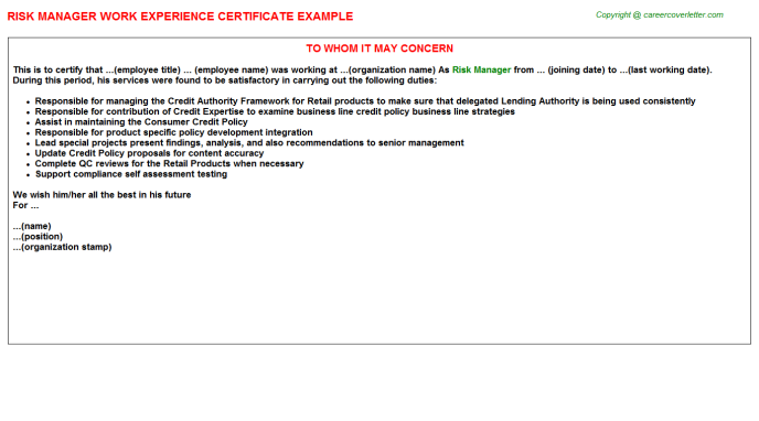 Risk Manager Experience Letter Template