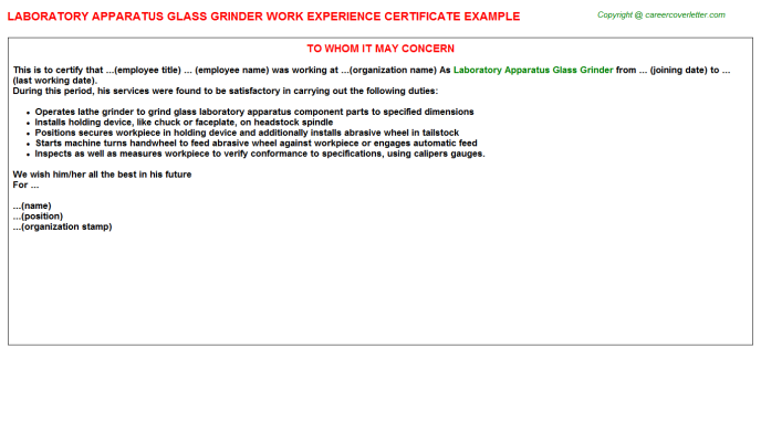 Laboratory Apparatus Glass Grinder Experience Letter Template