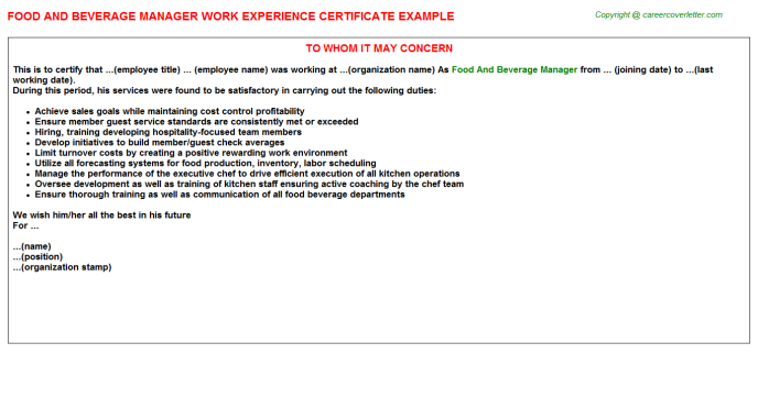 Food And Beverage Manager Experience Letter Template