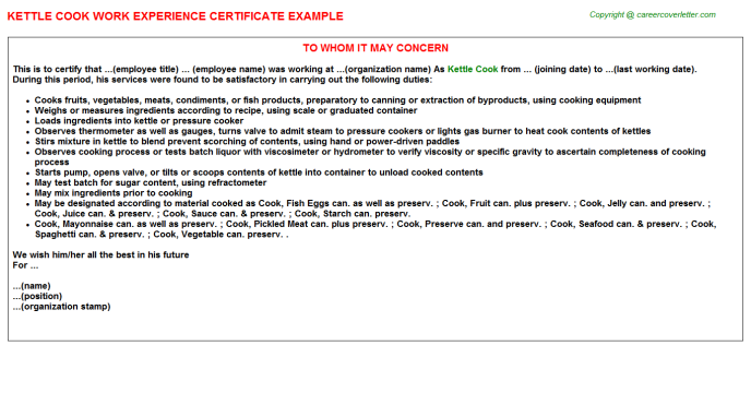 Kettle Cook Experience Letter Template