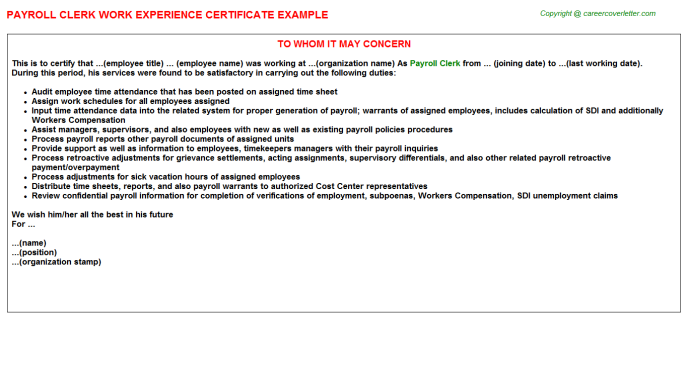 Payroll Clerk Experience Letter Template