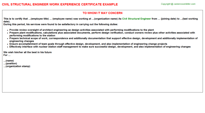 Civil Structural Engineer Work Experience Letter