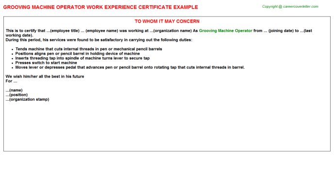 Grooving machine Operator Experience Letter Template