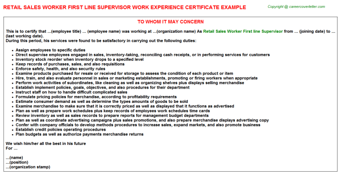 Retail Sales Worker First Line Supervisor Experience Letter Template