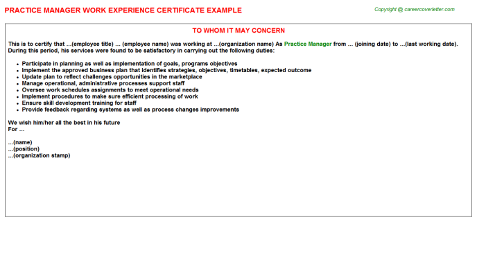 Practice Manager Experience Letter Template