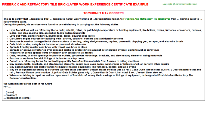Firebrick And Refractory Tile Bricklayer Experience Letter Template