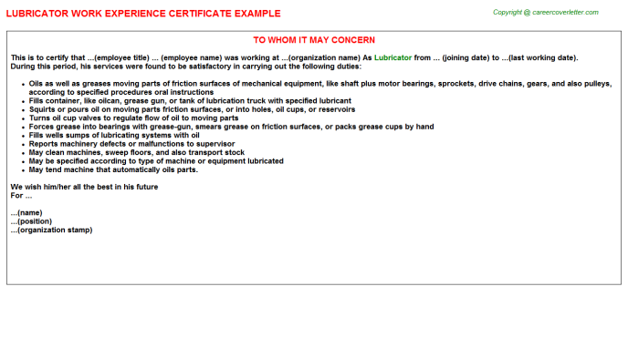 Lubricator Experience Letter Template