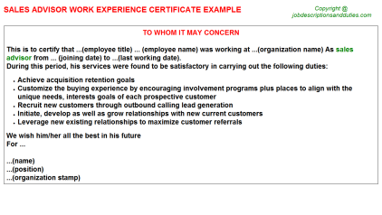 Sales Advisor Work Experience Letter Template