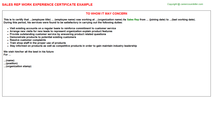 Sales Rep Experience Certificate Template