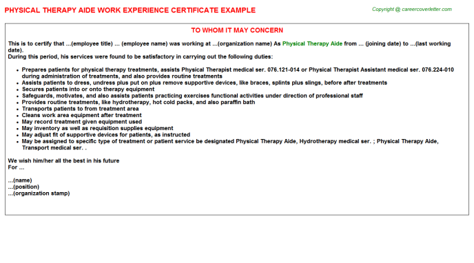 Physical therapy aide work experience letter (#4942)