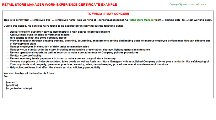 retail store manager experience letter