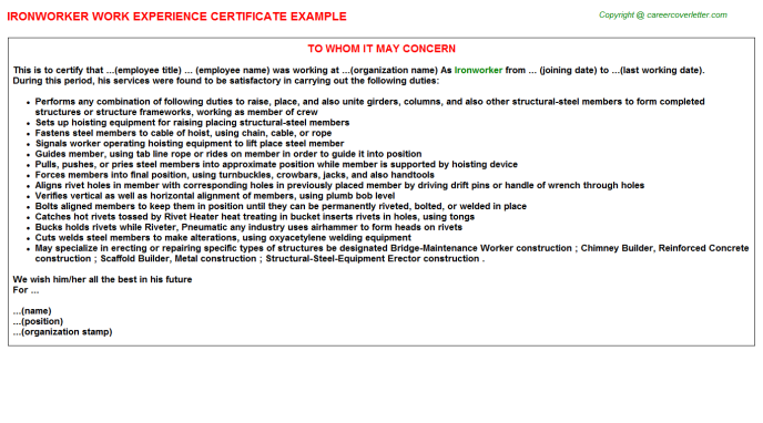 Ironworker Experience Letter Template