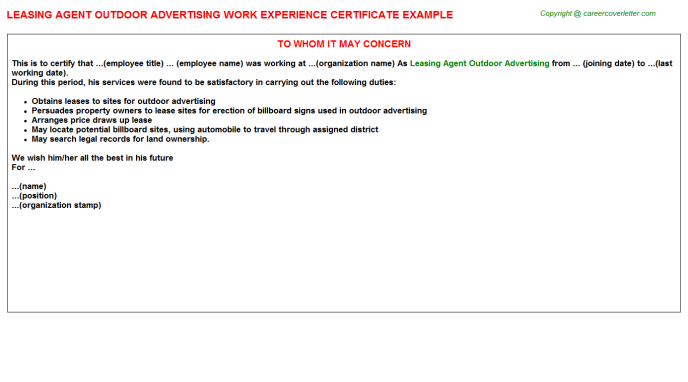 Leasing Agent Outdoor Advertising Work Experience Certificate Template