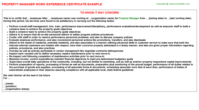 Property Manager Experience Letter Template