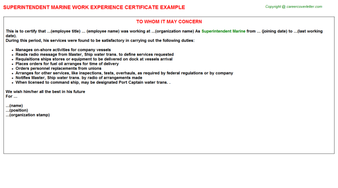 Superintendent Marine Experience Letter Template