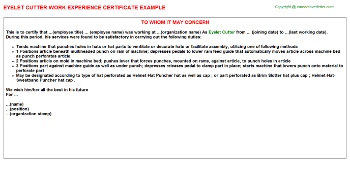 Eyelet Cutter Work Experience Letter Template