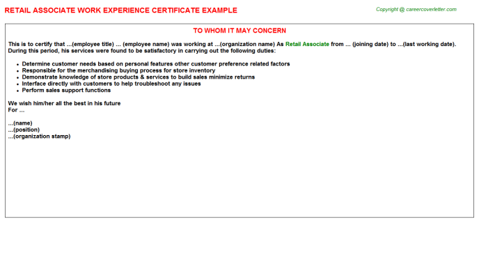 Retail Associate Experience Letter Template