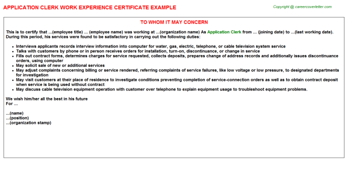 application clerk experience letter template