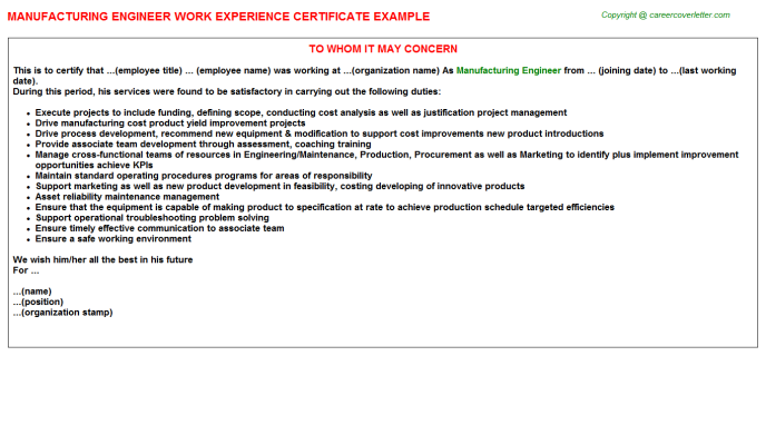 Manufacturing Engineer Experience Letter Template