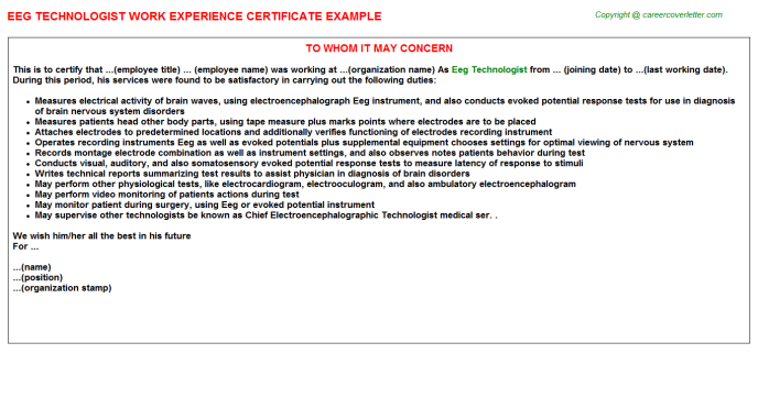 Eeg Technologist Work Experience Letter Template