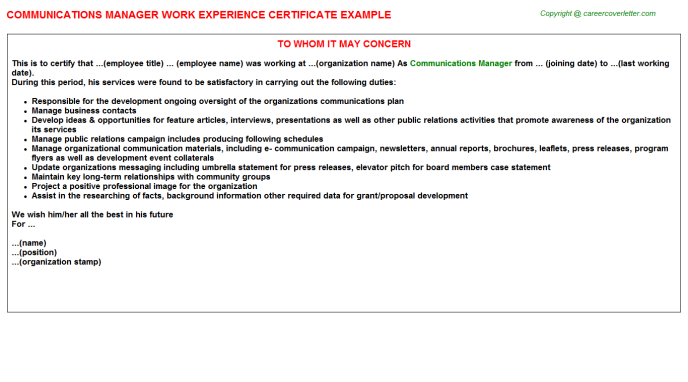 Communications Manager Work Experience Certificate Template